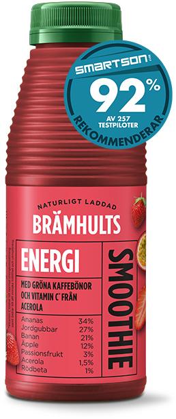 Energismoothie med smak av jordgubb och passionsfrukt